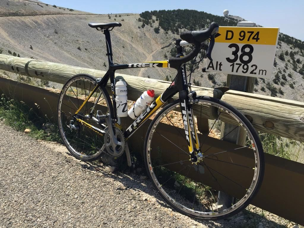 Mont Ventoux climb milestone and bike